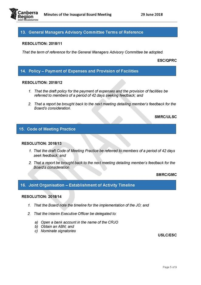 Agenda of Council - 8 August 2018